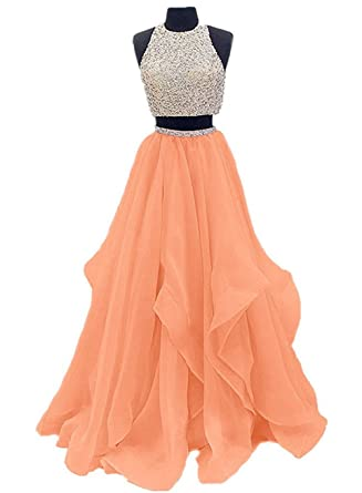 Ladsen 2 Piece Beaded Long Prom Dress Tulle Evening Gown For Party L186 Orange US2 Size