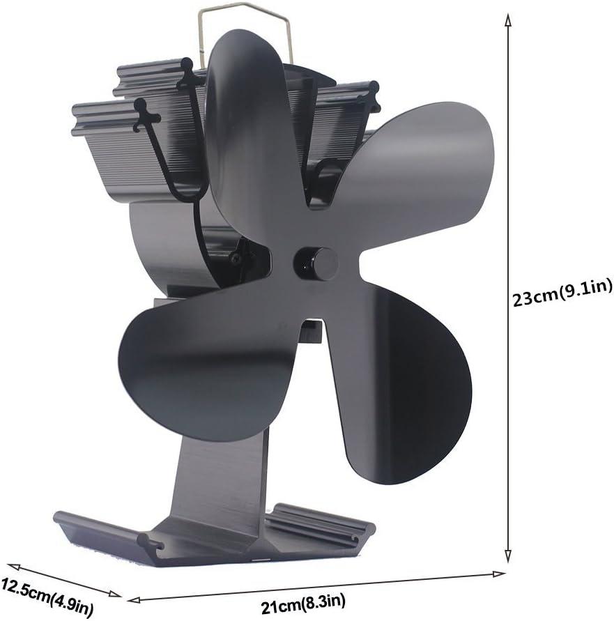 2018 Aktualisiert 4-Blade Heat Powered Fan f/ür Holzofen Log Brenner Kamin Gold Eco-Friendly und effiziente Fan