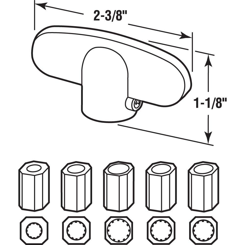 Slide-Co 173234-A Window Tee Crank Casement Handles, Aluminum (2-Pack)