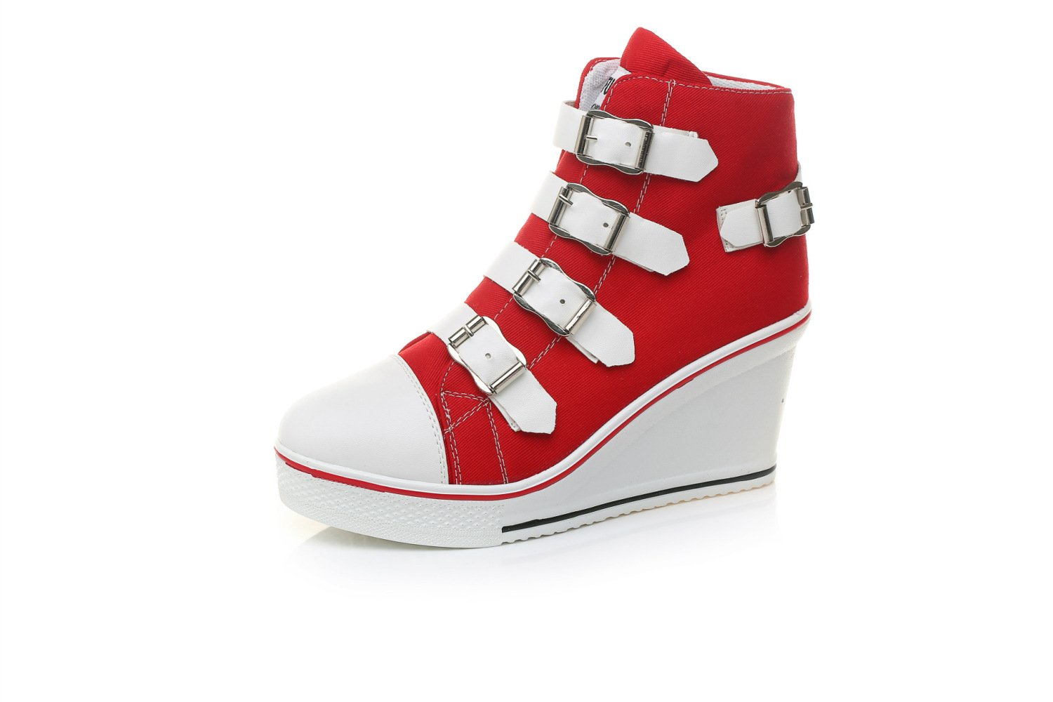 NBWE Femmes Wedge Raise Heels Sneakers Toile Casual Chaussures 8cm Raise Taille Chaussures Zipper Lace Up Taille 40-43 Chaussures Casual Red a3f79ac - robotanarchy.space