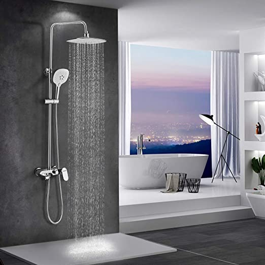 barra de ducha de altura ajustable con ducha para cuarto de ba/ño dise/ño moderno sistema de ducha con ducha de lluvia y alcachofa de mano WOOHSE Set de ducha sin grifo