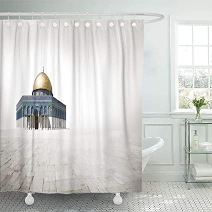 Emvency Waterproof Fabric Shower Curtain Hooks Dome Mousque Of Al Aqsa In Old Town Jerusalem Rock