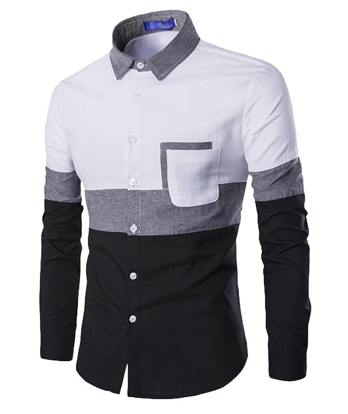 ISSHE Camisas Slim Fit Hombre Camisa Traje Básica Cuello ...