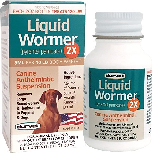 Durvet 2x LIquid Wormer, 2 oz, For Puppies and Adult Dogs