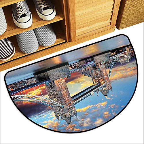 DILITECK Door mat London Vista of Tower Bridge at Dramatic Sunset Thames River with Grey Clouds Quick and Easy to Clean W24 xL16 Pale Blue Yellow Tan