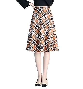 9107fea301 Women's Vintage Elegant Plaid Striped Thicken Wool Midi Skirts Woolen Warm  Fashion Slim High Waist Long