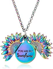 Sherine You are My Sunshine Sunflower Open Locket Engraved Pendant Necklace Valentinesday Gift