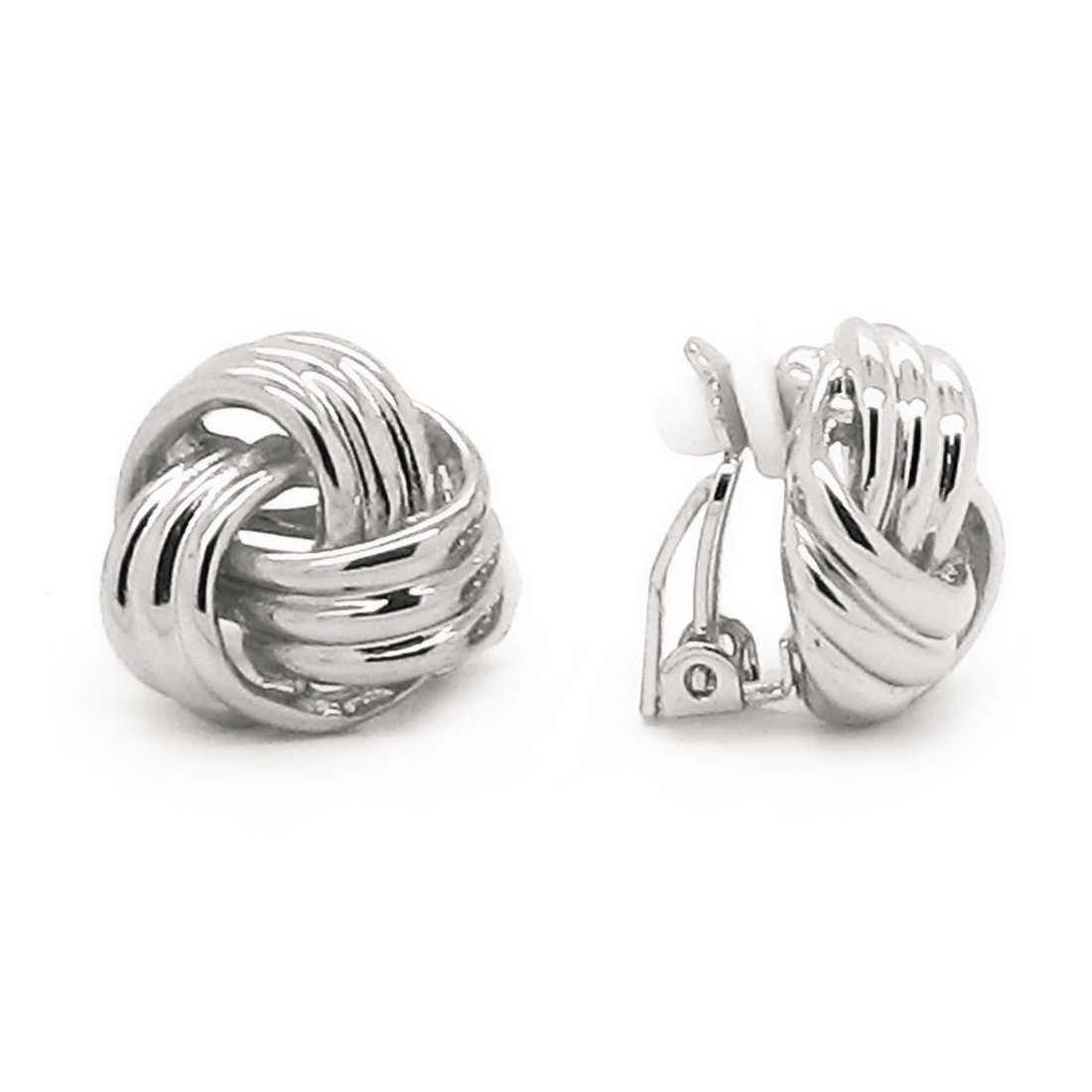 Sparkly Bride Love Knot Clip On Earrings Rhodium Plated Women Fashion