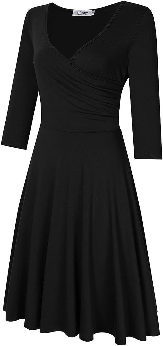 Women's Black Stretchy 3//4 Sleeve Fit /& Flare Dress Med Missky