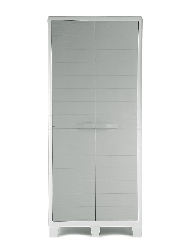 Ondis24 Ondis24 Ondis24 Kunststoffschrank XL Madera mit 3 Böden und Besenfach Grau in Holz Optik Spind Aufbewahrungsschrank abschließbar 322cf2