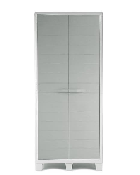 Ondis24 Kunststoffschrank XL Madera mit 3 Böden und Besenfach Grau in Holz Optik Spind Aufbewahrungsschrank abschließbar
