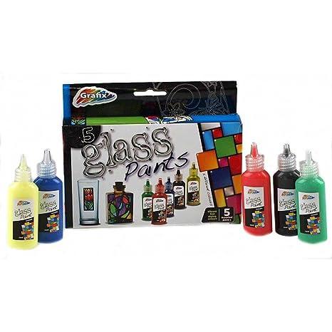 Glass Paints - Confezione da 5 colori assortiti di vernice per vetro ...
