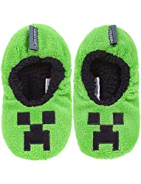 Vanilla Underground Minecraft Creeper Boy's Slipper Socks
