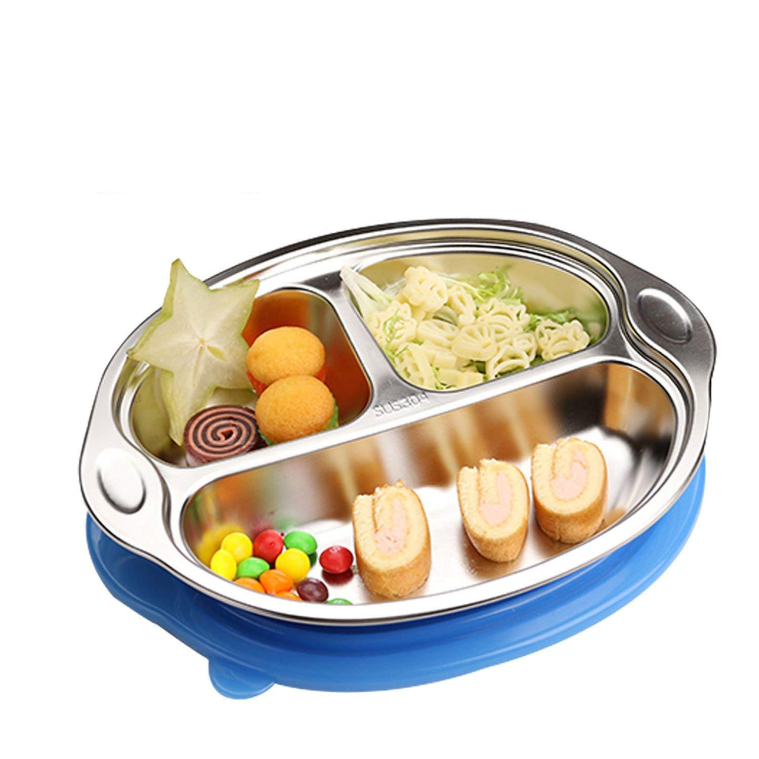 OldPAPA Smart Stainless Divided Platter with Sectional Lid, Stainless Steel Divided Plate for Babies, Toddlers and Kids, BPA Free Plate Blue