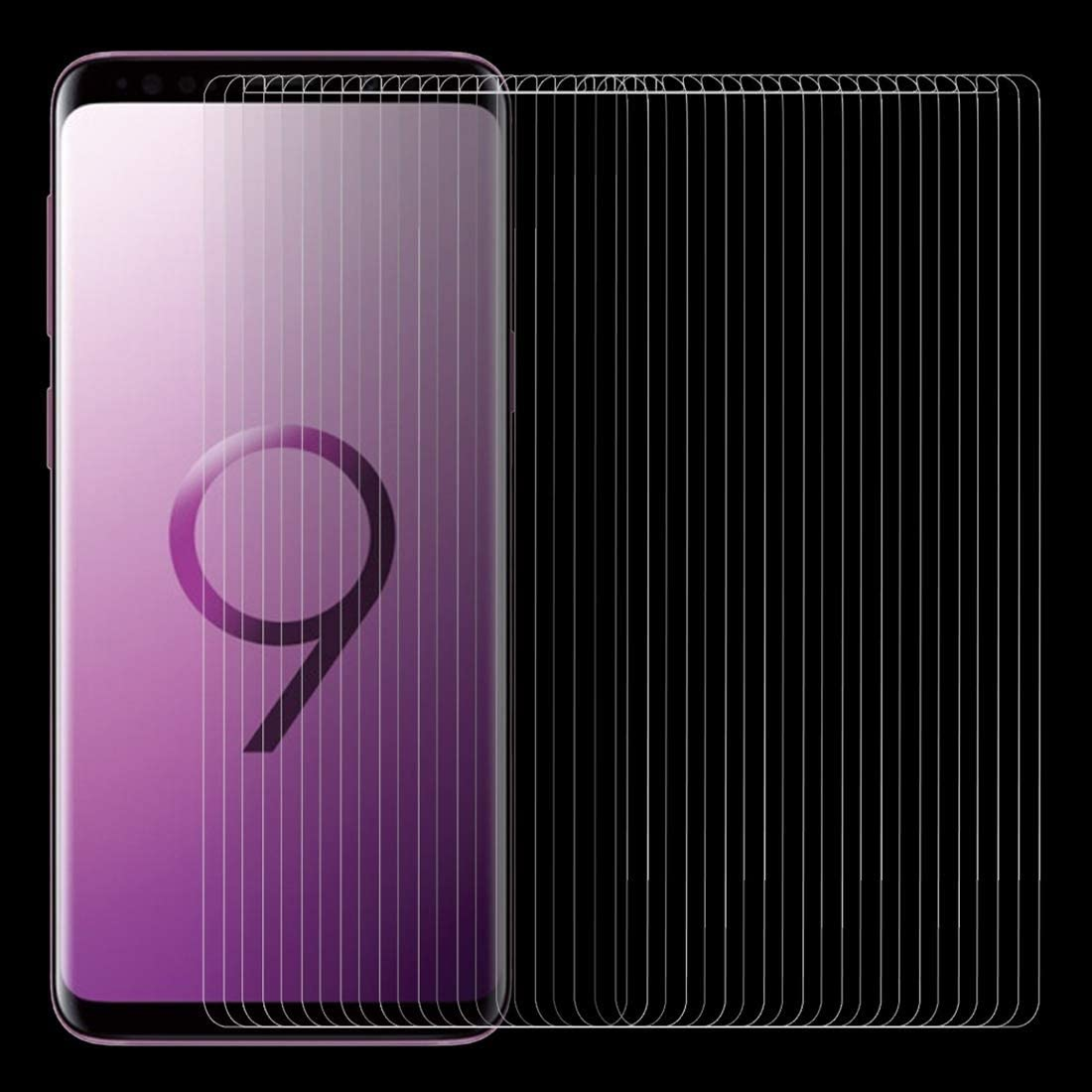 HUFAN 100 PCS for Galaxy S9 0.26mm 9H Surface Hardness 2.5D Curved Edge Non-Full Screen Tempered Glass Front Screen Protector Phone Glass Film