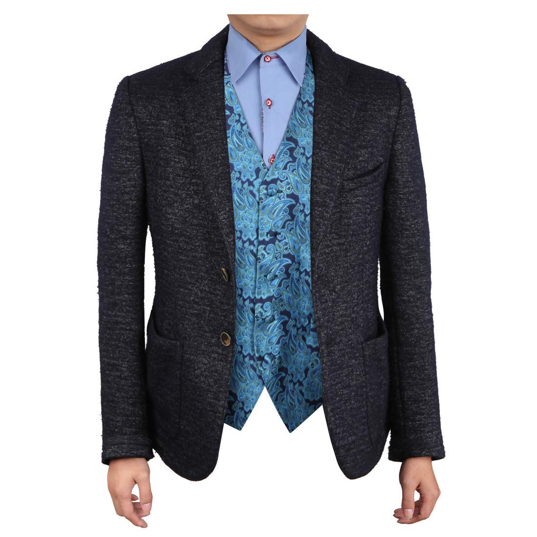 Epoint EGC1B06B-2XL Dark Turquoise Patterned Love For Marriag Waistcoat Woven Microfiber Bridegrooms Mens Vests XX-Large Vest by Epoint