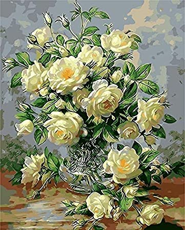 PEKSLA Pintura al óleo Flor en florero imágenes por números Pintura Flor DIY Lienzo Cuadro Pintado a Mano decoración del hogar 40x50 cm sin Marco SD-4388