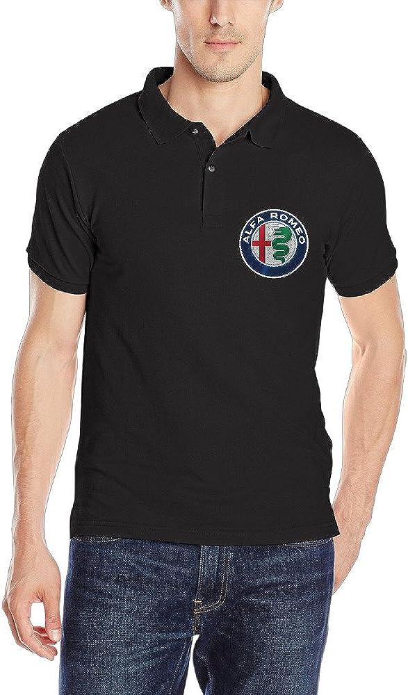 MESTT Alfa Romeo Italy Super Sport Car Brand Logo Men's Polo Shirt Black