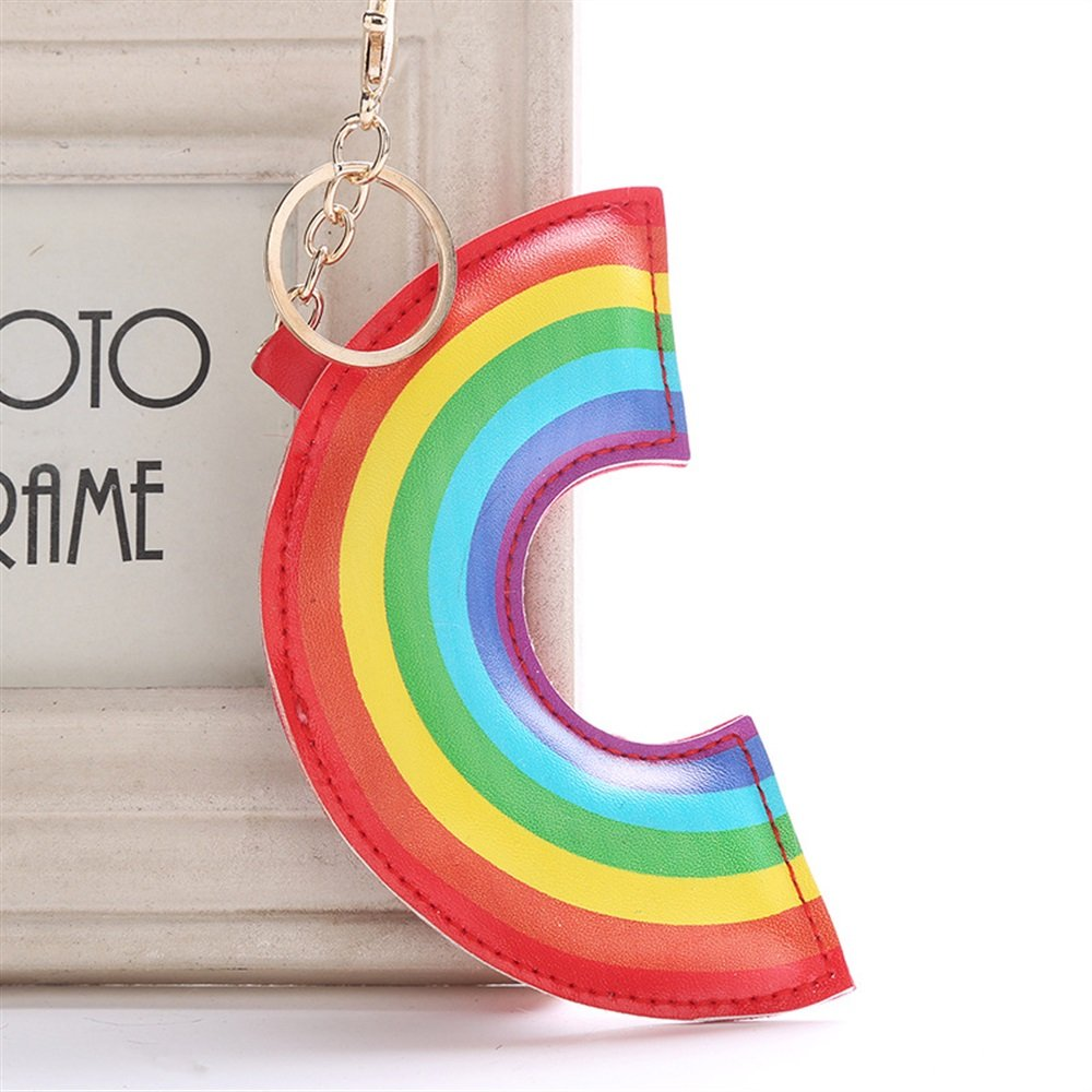 Upstudio Cute Handbag Pendants Keyring PU Leather Rainbow Keyring Keychain Key Chain Gift(Colorful)