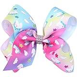 Gemini_mall® Rainbow Unicorn Hair Bows Boutique Girls Alligator Clip Grosgrain Ribbon Hair Clips Gifts (#6)