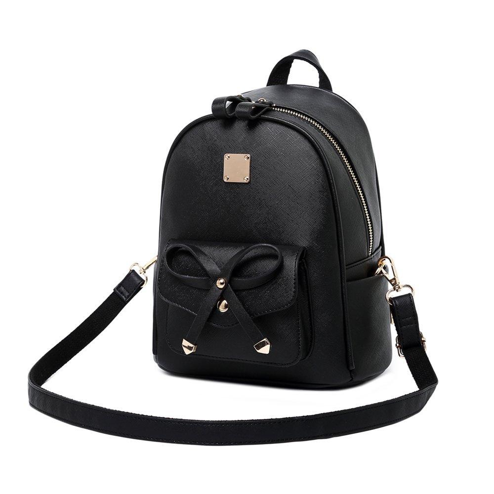 WINK KANGAROO Fashion Shoulder Bag Rucksack PU Leather Women Girls Ladies Backpack Travel bag (Black Small Size) by WINK KANGAROO (Image #5)