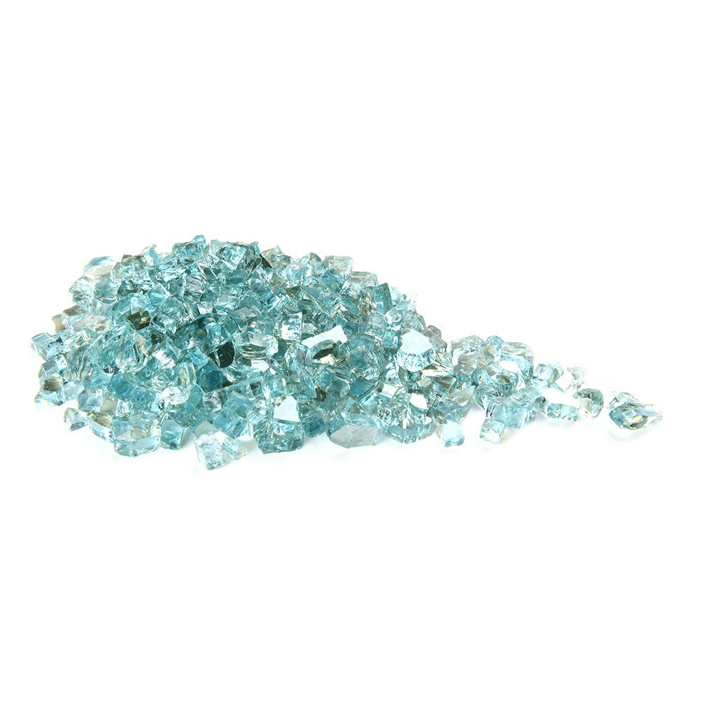 MITOO Fire Glass for Fire Pit - Crushed Fire Glass for Indoor and Outdoor Gas & Propane Fireplace Glass Beads Decor - Diamonds Semi-Reflective | 10 Pounds | 1/2 Inch, Margarita Luster (Water Blue