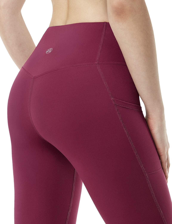 Tummy Control Yoga Capris TSLA Women High Waist Yoga Pants with Pockets 4 Way Stretch Capri Leggings with Pockets