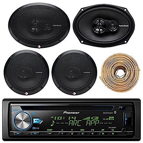 Pioneer DEH-X6900BT Car Bluetooth Radio USB AUX CD Player Receiver - Bundle Combo With 2x Rockford Fosgate 6.5