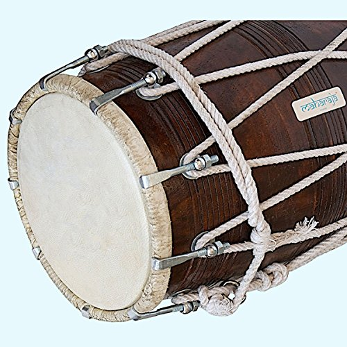 Beautiful Dholak (Dholki), Made Of Sheesham Wood with Stylish Tuning Spanner (PDI-BBC) MI 07 by Global Art World
