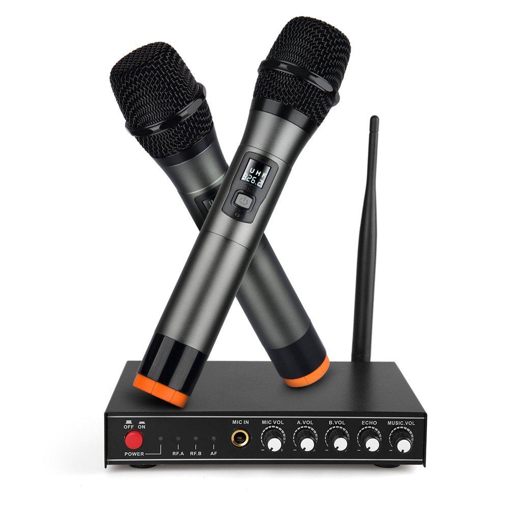 UHF Wireless Microphone System,Frunsi Dual Dynamic Cordless Handheld Microphones with Multiport Receiver, Supports Long Range Wireless Signal, Ideal for Karaoke, Singing, DJ, Churching, Presentation