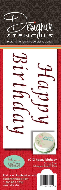 designer stencils C013 Happy Birthday Cake Stencil