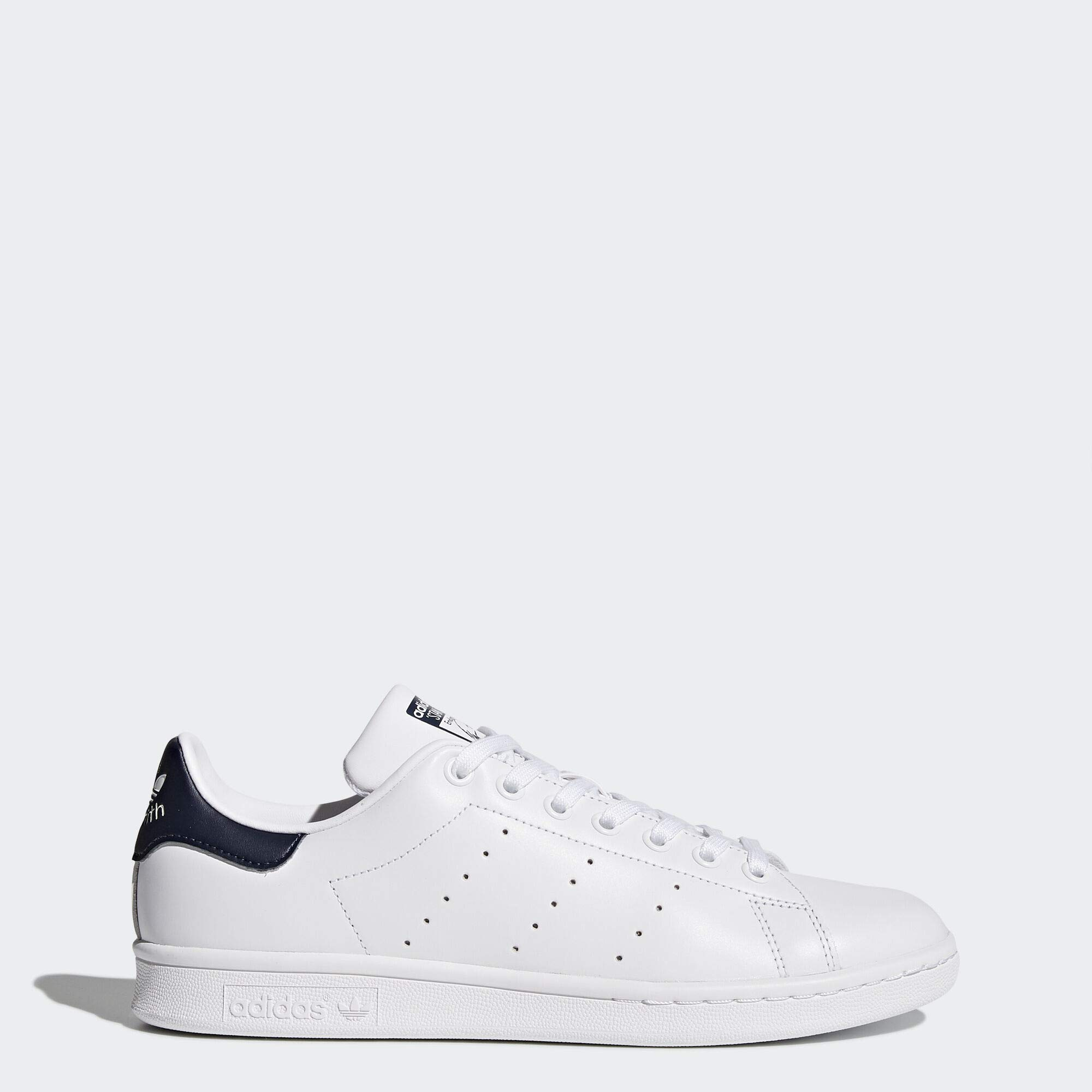 adidas Originals Men's Stan Smith Leather Sneaker, Core White/Dark Blue, 12 by adidas Originals