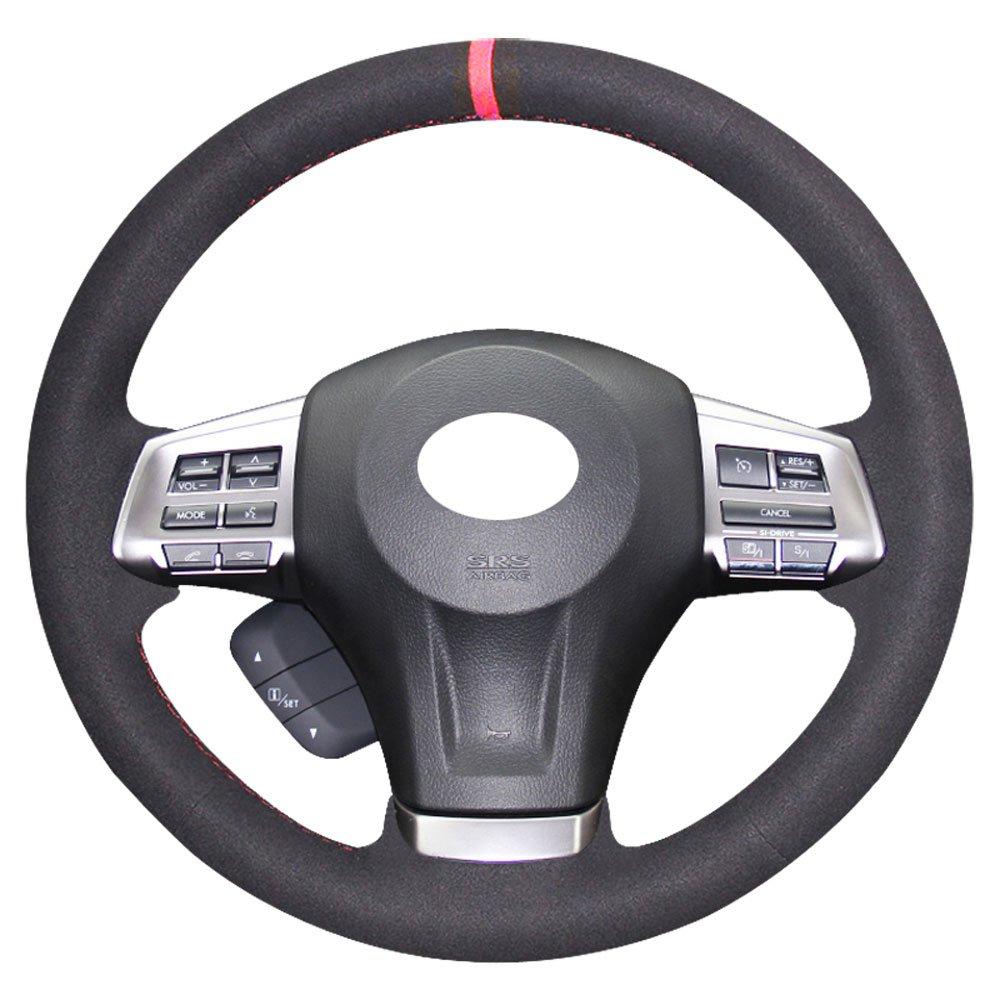 Crosstrek 2013-2016 Interior Accessories Black Suede Red Thread Subaru Forester 2014-2016 Outback 2012-2014 Legacy 12-14 Eiseng DIY Steering Wheel Cover for Subaru Impreza 2013 2014 2015 2016