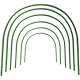 RTWAY Greenhouse Hoops, 6 Pack Plant Support Garden Stakes, Rust-Free Grow Tunnel 4ft Long Steel with Plastic Coated Support
