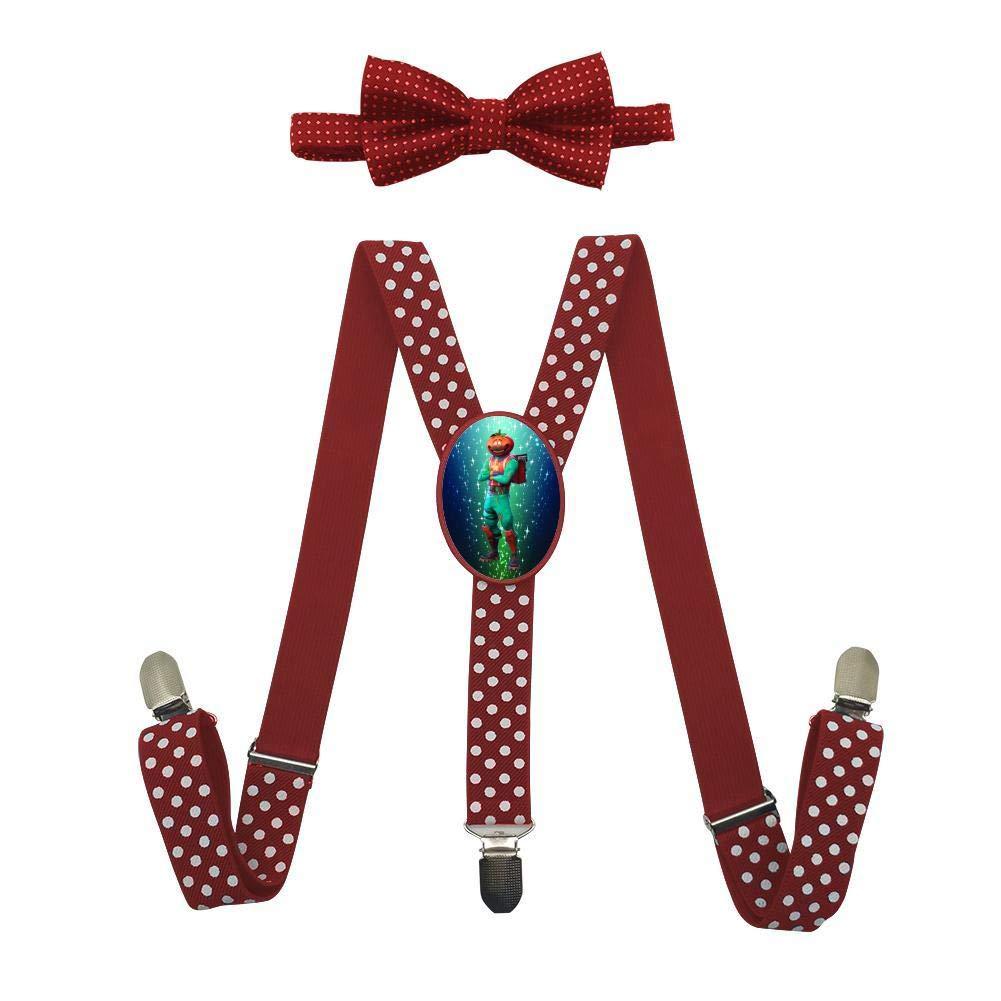 Tomato Head Unisex Kids Adjustable Y-Back Suspenders With Bowtie Set