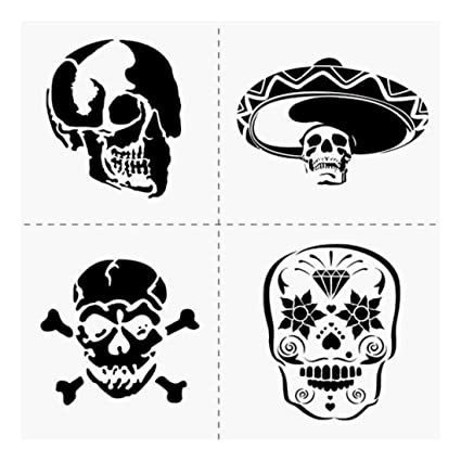 amazon com 4 skulls stencil template mexican hat sugar skull craft