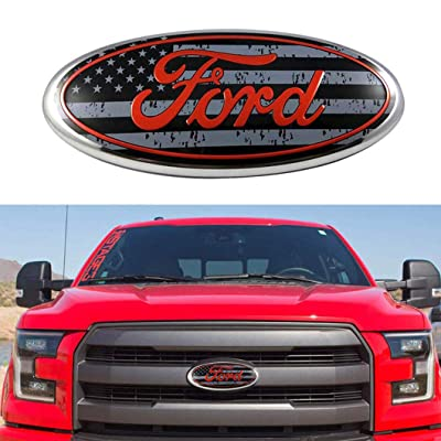 "9 Inch Ford Emblem, F150 Emblem Ford Front Grille Tailgate Emblem Oval 9""X3.5"" Decal Badge Nameplate Also Fits for 04-14 F250 F350, 11-14 Edge, 11-16 Explorer, 06-11 Ranger: Automotive"
