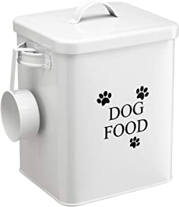 PARANTA Iron Dog Food Storage Bucket, with Airtight Lid and Spoon, White 9
