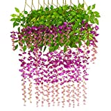 Bird Fiy 12 Pieces 3.6 Feet Artificial Flowers Fake Wisteria Vine Hanging Flower Garland for Wedding Party Home Garden Wall Decor/12 Pieces Red