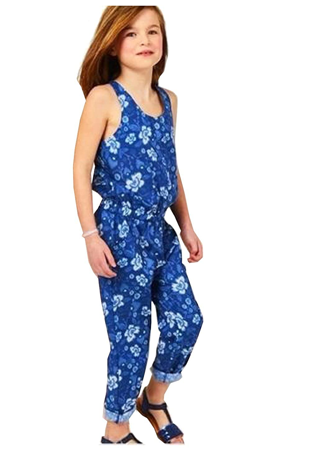 Girls Blue Floral Fashion Jumpsuit Romper One Piece Outerwear