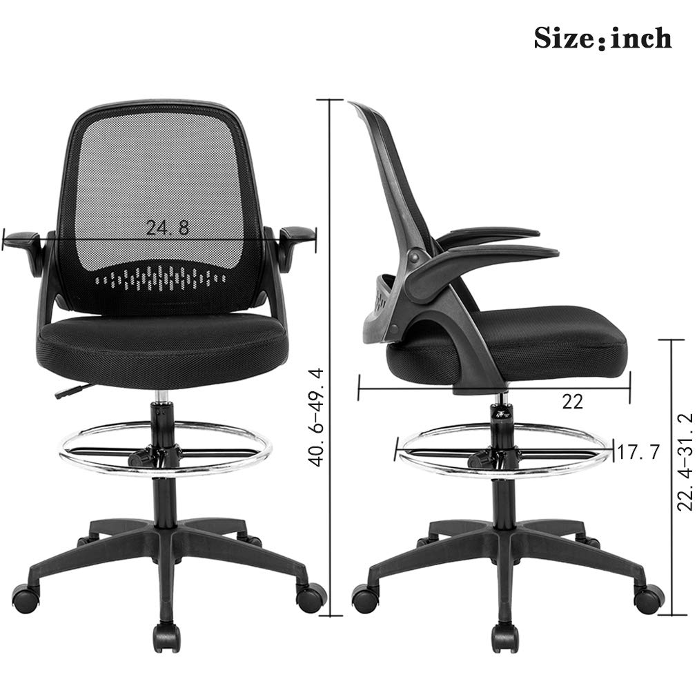 Drafting Chair Tall Office Chair Desk Chair Mesh Computer Chair Adjustable Height with Lumbar Support Flip Up Arms Swivel Rolling Executive Chair for Standing Desk by BestOffice (Image #7)