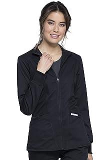 Maevn Scrubs EON Women Sporty Mesh Panel Round Neck Knit Rib Collar Jacket 8708
