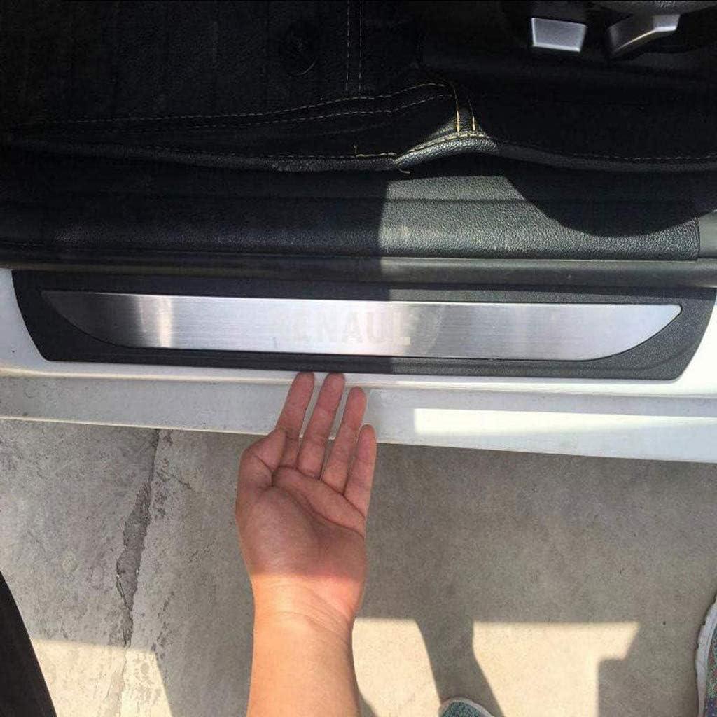 massage Acciaio Inox Door Sill Soglia della Porta Protezioni Trim Pedali Scuff Plate per Renault Kadjar 2017-2019 4pcs
