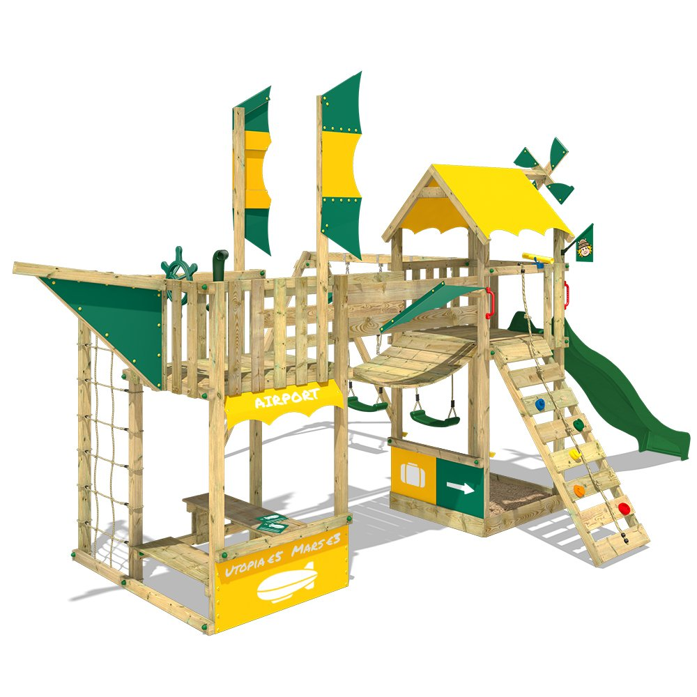 WICKEY Spielturm Smart Wing Kletterturm Spielplatz Luftschiff mit Segeln und Propeller Kletternetz Sandkasten, grüne Rutsche + gelb-grüne Plane