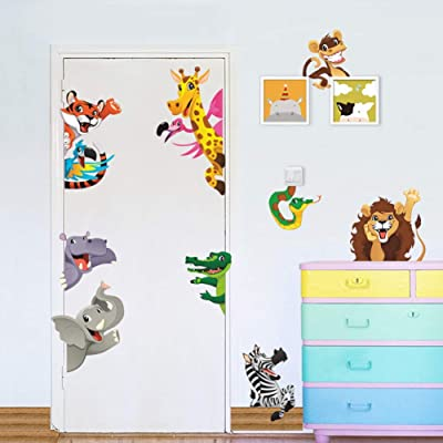 WEWINLE Animals Wall Stickers for Kids Rooms DIY Children Mural Decals for Baby Bedroom Wardrobe Door Decoration(Cartoon Animals): Kitchen & Dining