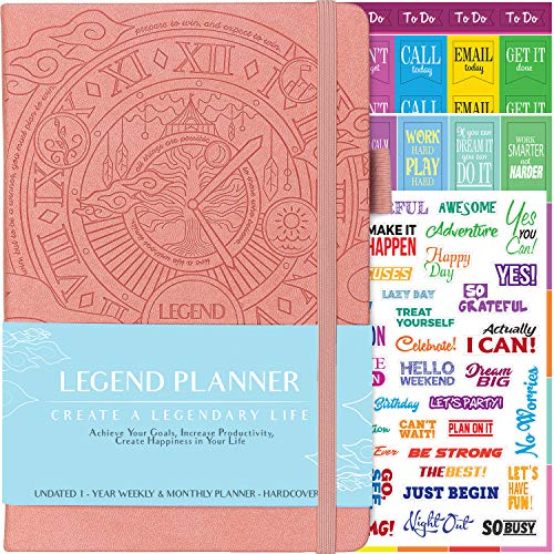 Legend Planner - Deluxe Weekly & Monthly Life Planner to Hit Your Goals & Live Happier. Organizer Notebook & Productivity Journal. A5 Hardcover, Undated - Start Any Time + Stickers - Peach Pink