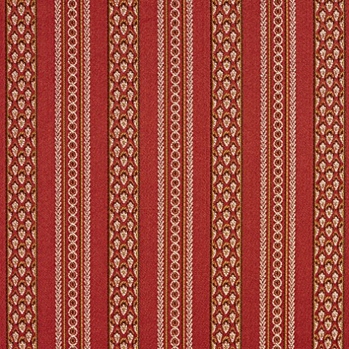 (B0710C Deep Red, Brown and Gold Striped Damask Brocade Upholstery Fabric by The Yard )