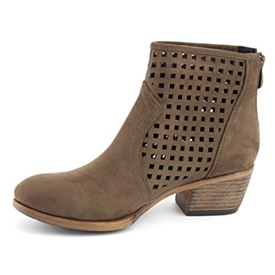 Women's Chunky Ankle Boots Perforated Cut Out Stacked Block Casual Back Zipper Booties DY01 | Ankle & Bootie