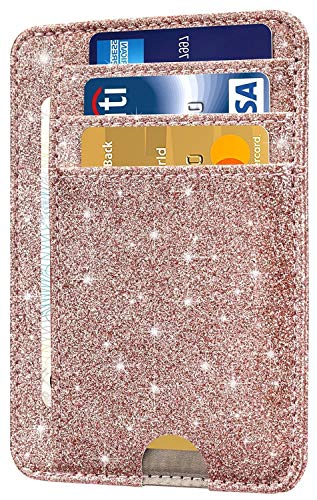 HOTCOOL Front Pocket Minimalist Leather With RFID Blocking Card Holder Wallet for Men & Women, Glitter ()