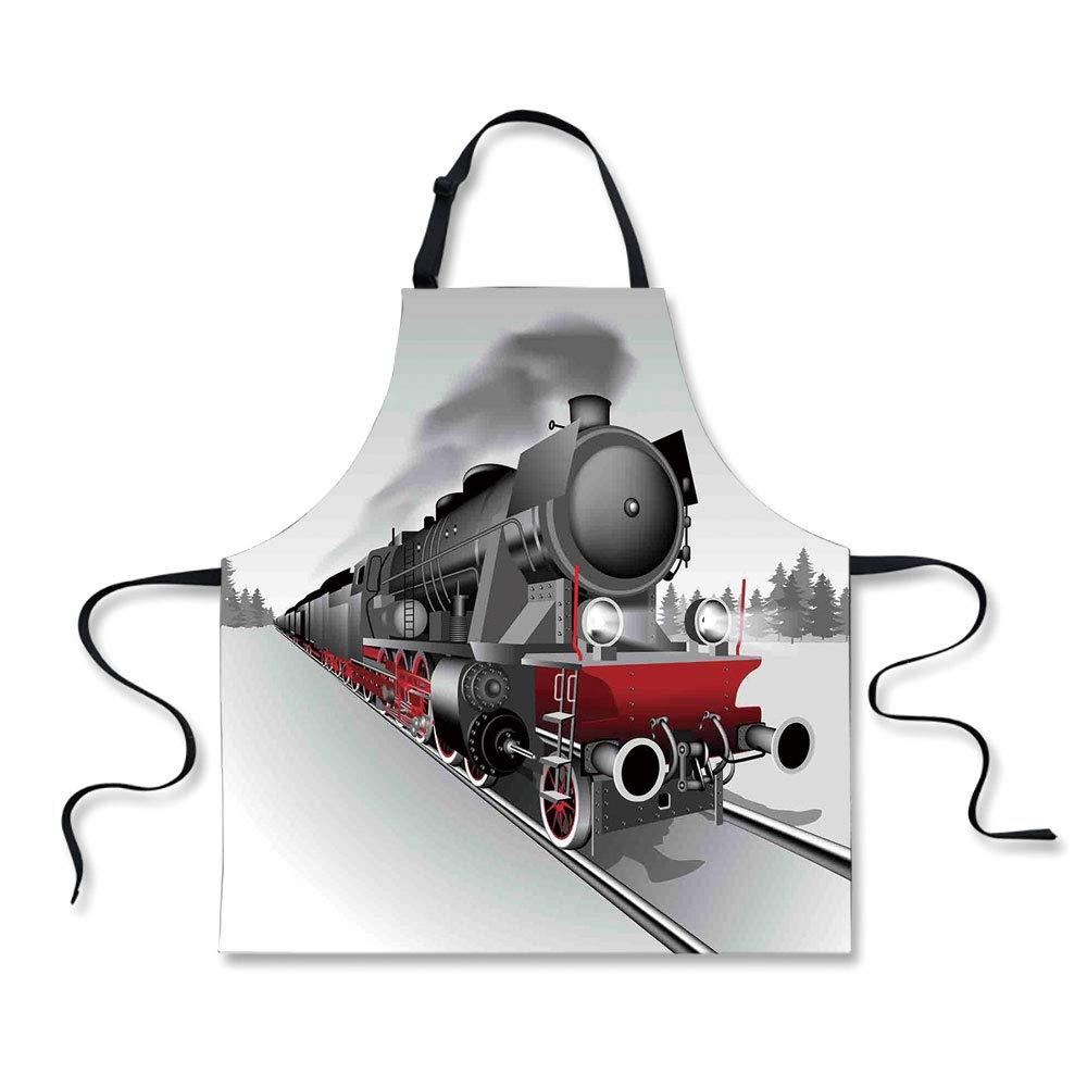 BBQ Apron,Steam Engine,Locomotive Red Black Train with Headlights on Steel Railway Track Graphic Print,Red Grey, Apron.29.5''x26.3''